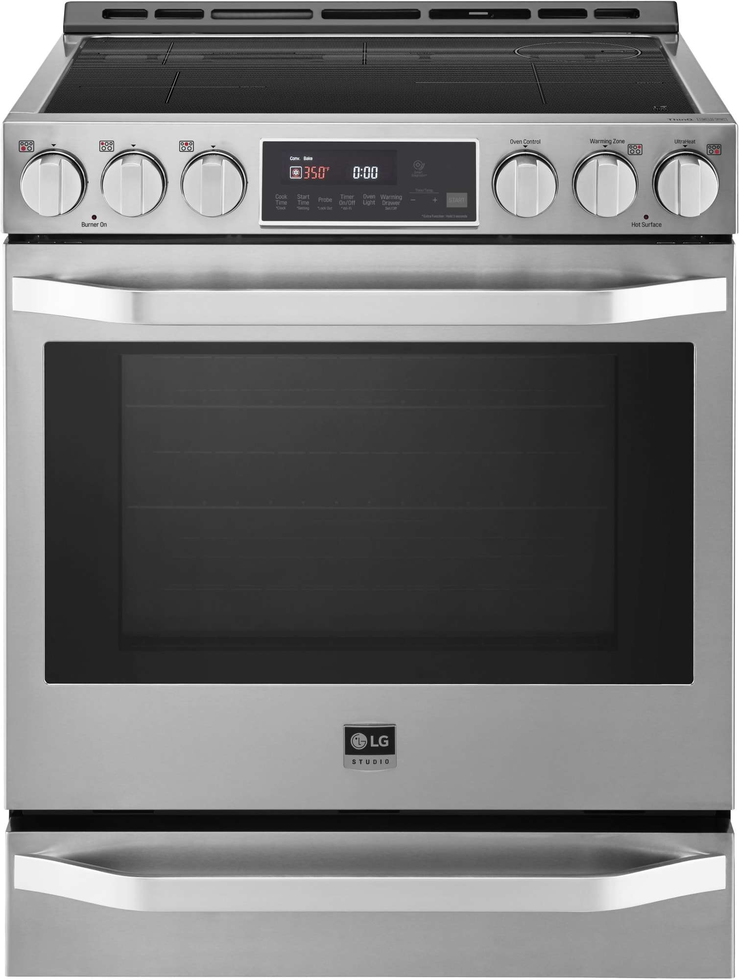The LG STUDIO LSIS3018SS 6.3 cu. ft. Slide-In Induction Range with EasyClean has a warming drawer and smart capabilities.