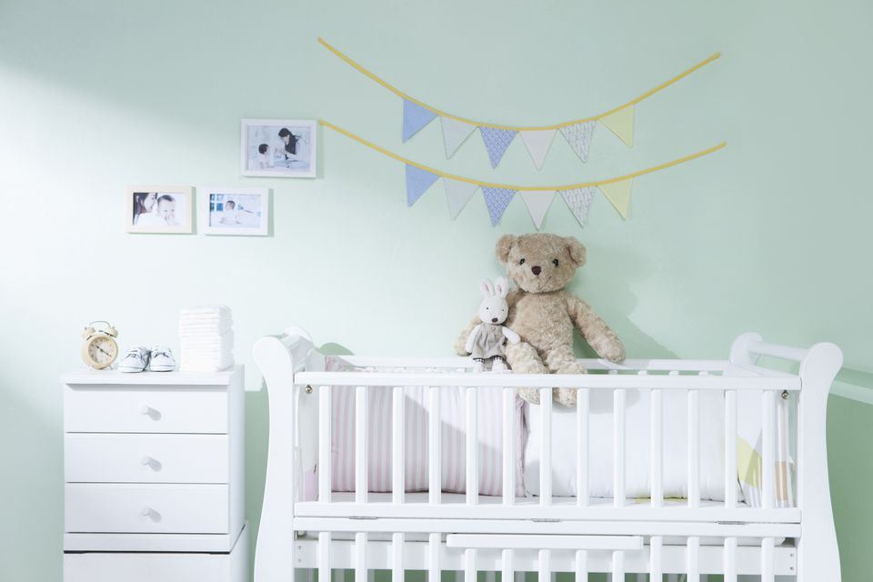 A room decorated for the baby