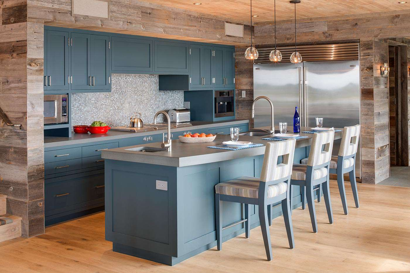 Madera rústica- country-blue-kitchen
