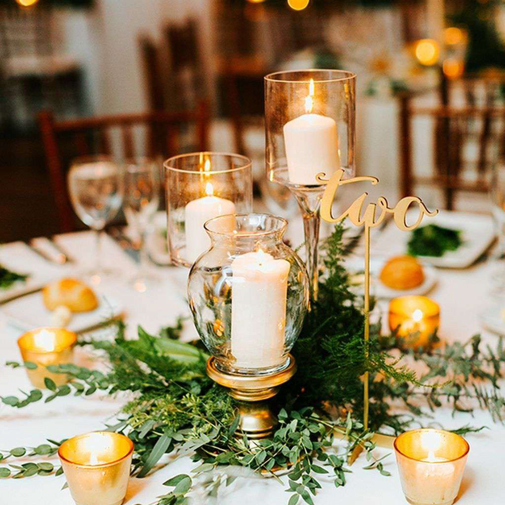 Modern Greenery and Candle Winter Wedding Centerpiece