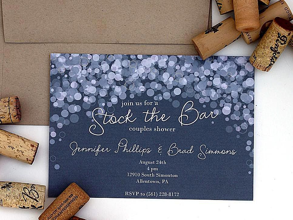 a purple and white bridal shower invitation with corks