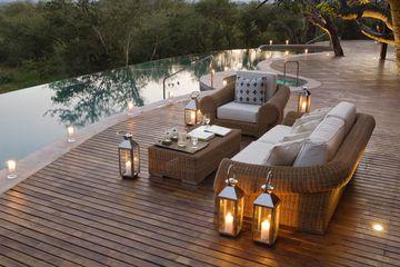 wood deck near pool
