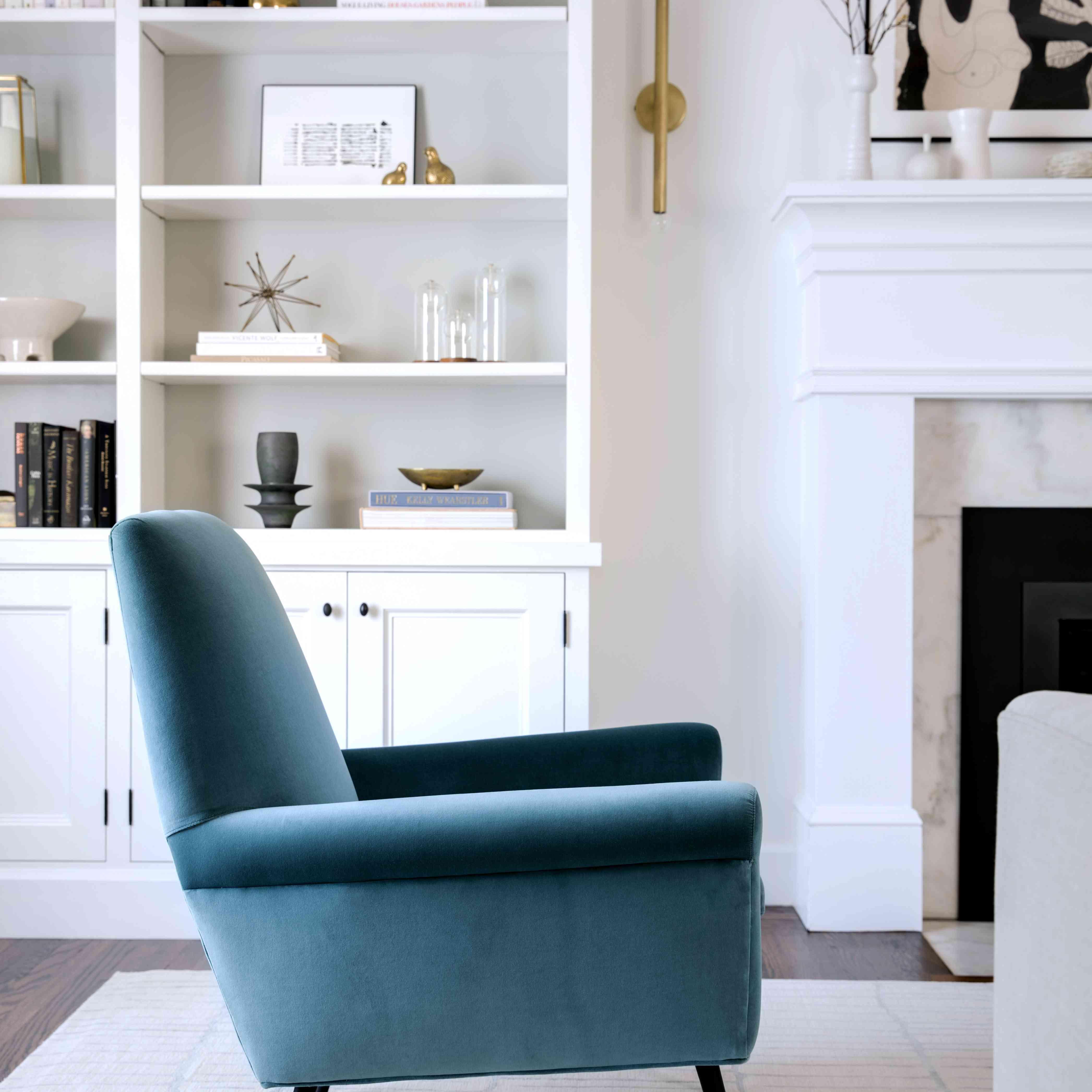 Living area from designer Jennifer Jones features portraits