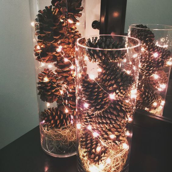 lights and pinecone centerpiece