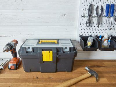 tool box and peg wall