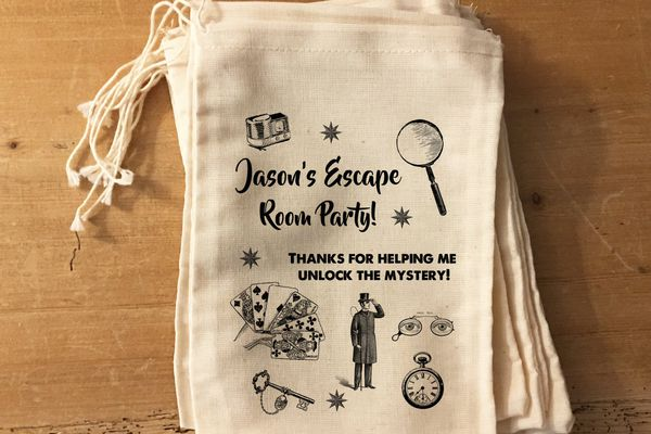 Customized escape room favor bags
