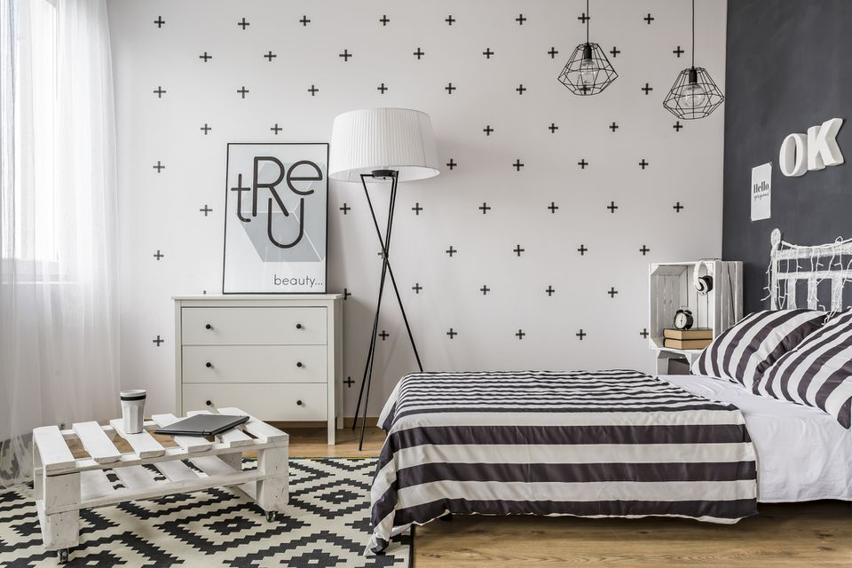 Remodeled black and white theme bedroom