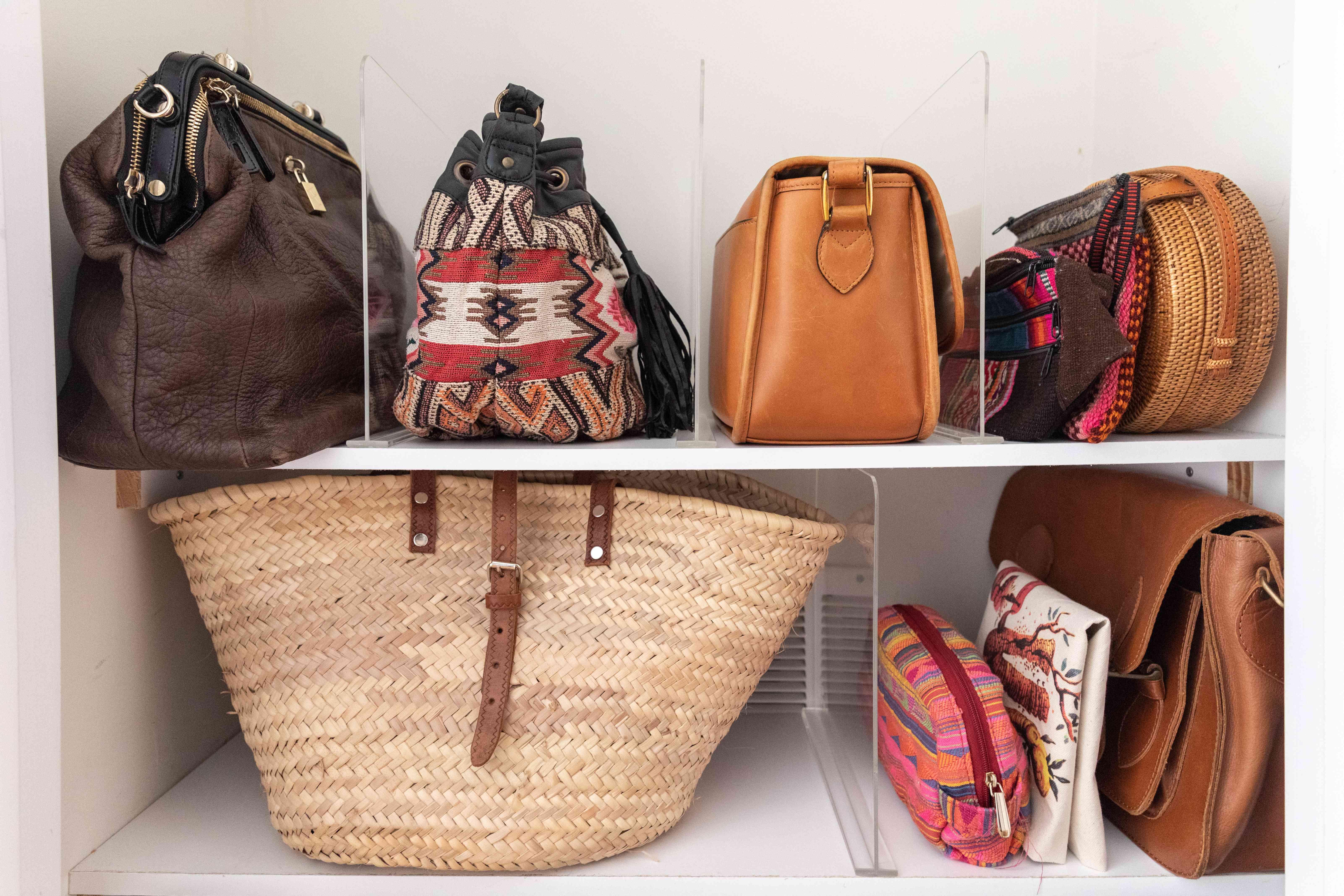 shelf dividers holding handbags