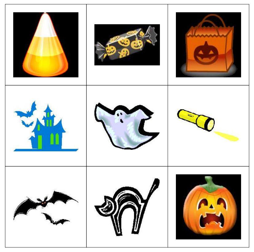 a 9 spot halloween bingo card