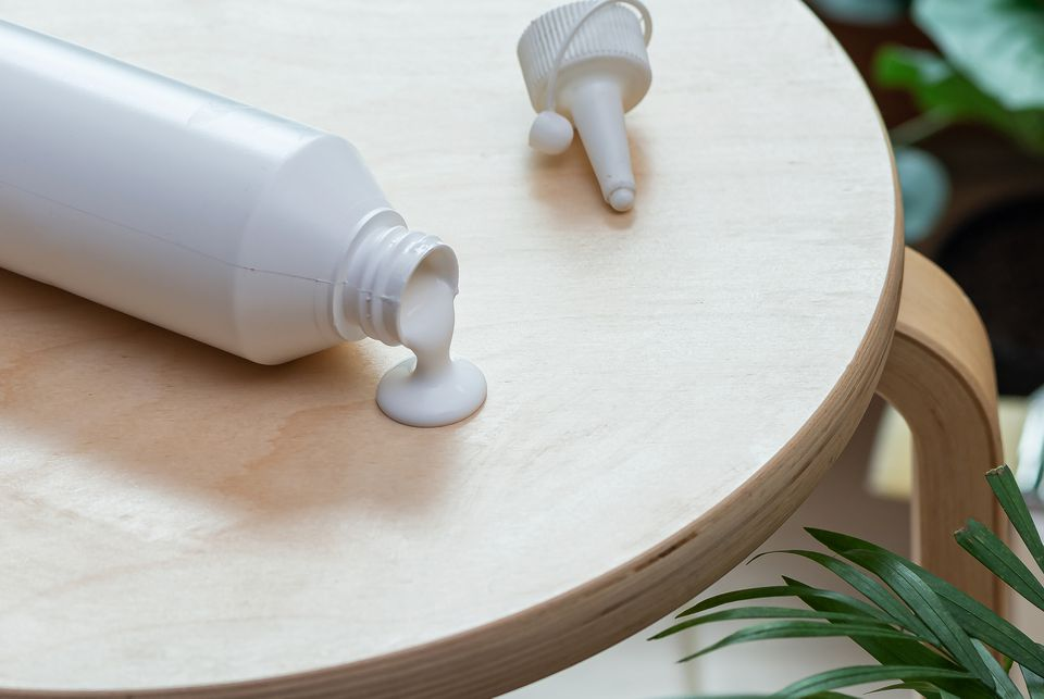 glue spilling onto a table
