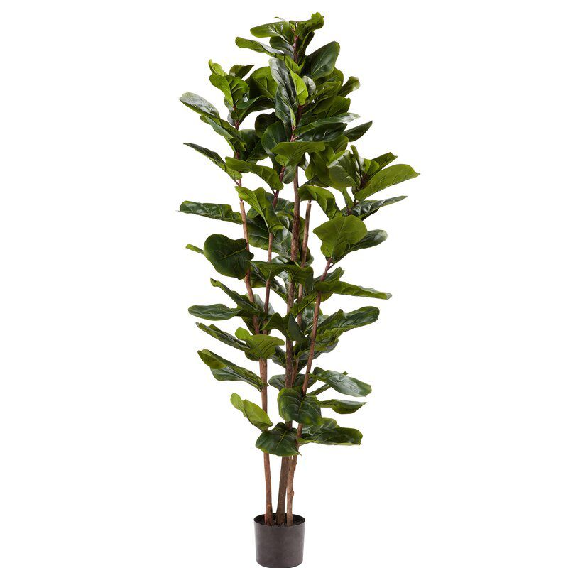 Pure Garden Artificial Fiddle Leaf Fig Tree in Pot