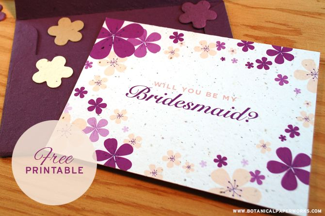 A Purple Floral Will You Be My Bridesmaid Card On Table