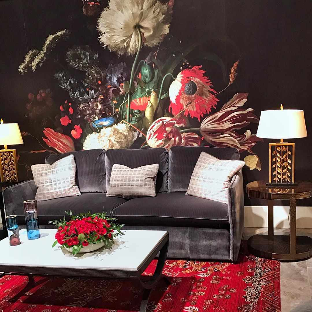 Living room with red floral wallpaper