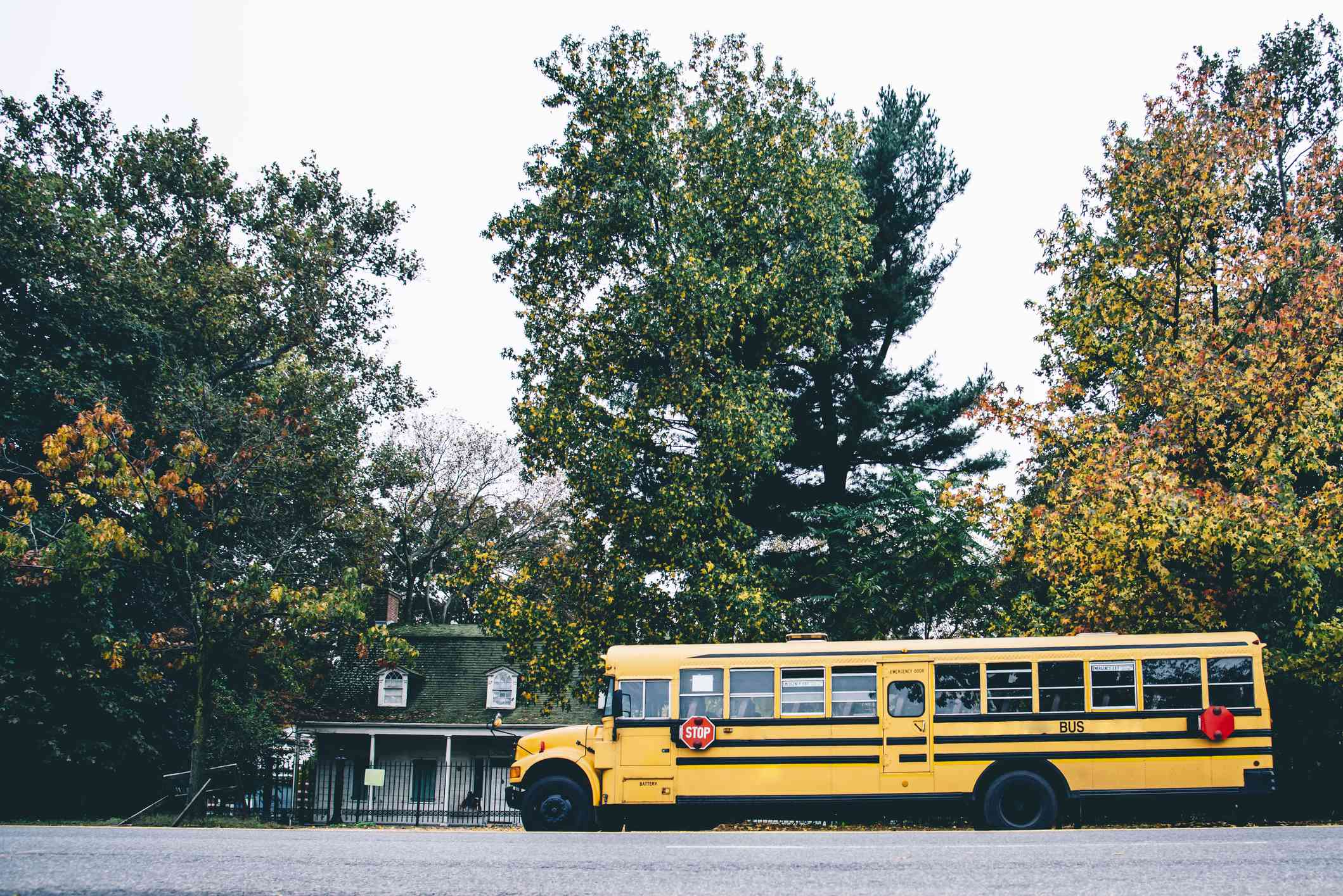 USA, New York, New York City, School bus on street