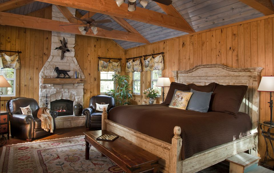 Dormitorio rústico lodge