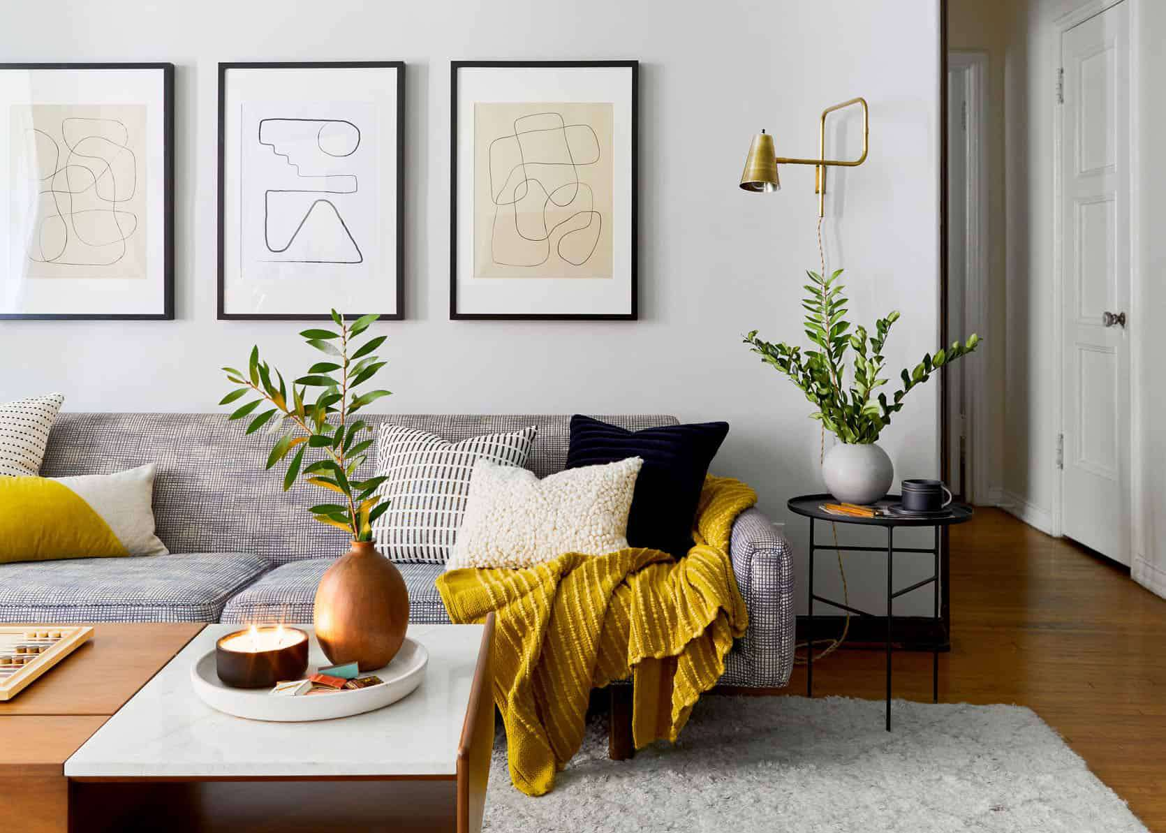 living room with gray and yellow accents