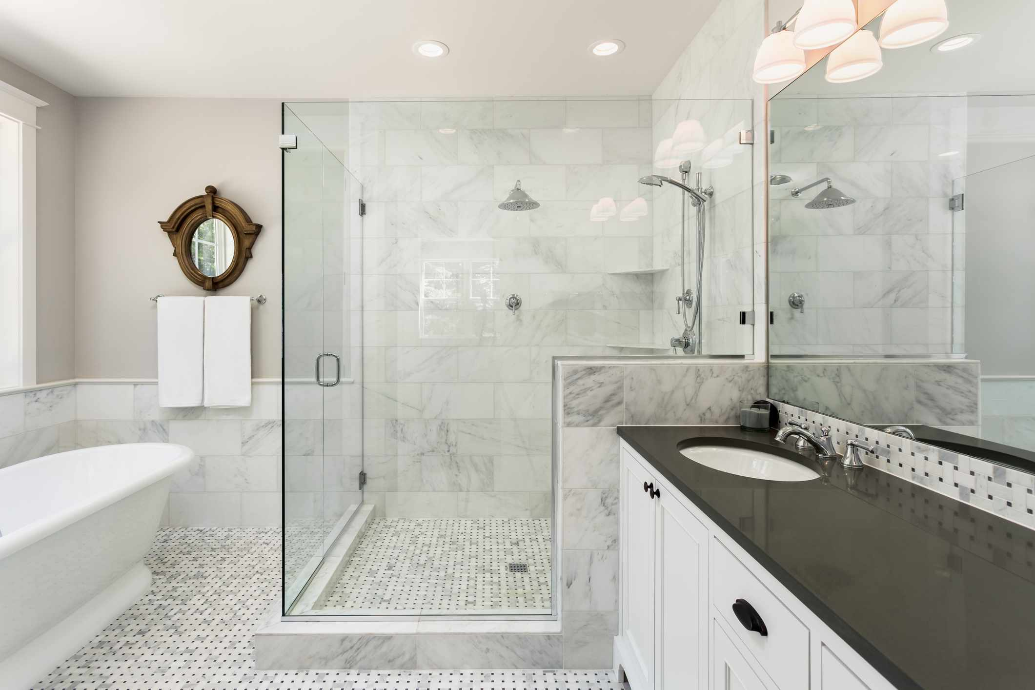 Modern bathroom with French country accents