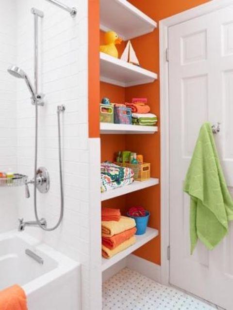 brown bathroom shelving ideas | 16 Ideas for Using Orange in a Bathroom