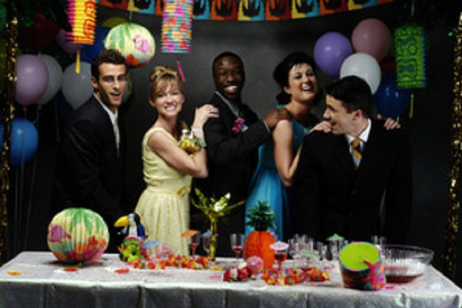 Teens at a prom party