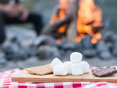 S'mores ingredients next to a campfire