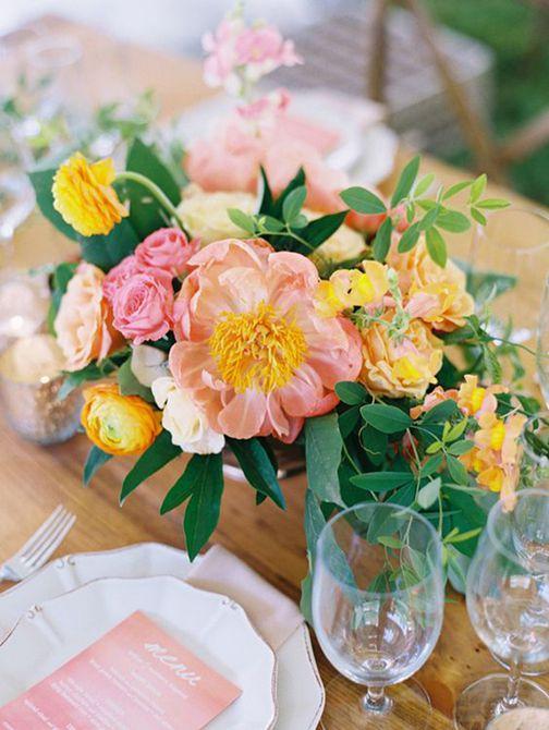 Centro de mesa de boda Coral Charm Peony Spring