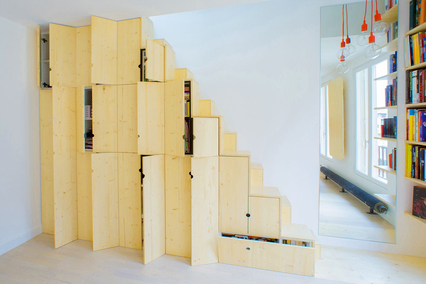 Staircase Storage Floor To Ceiling Cabinets