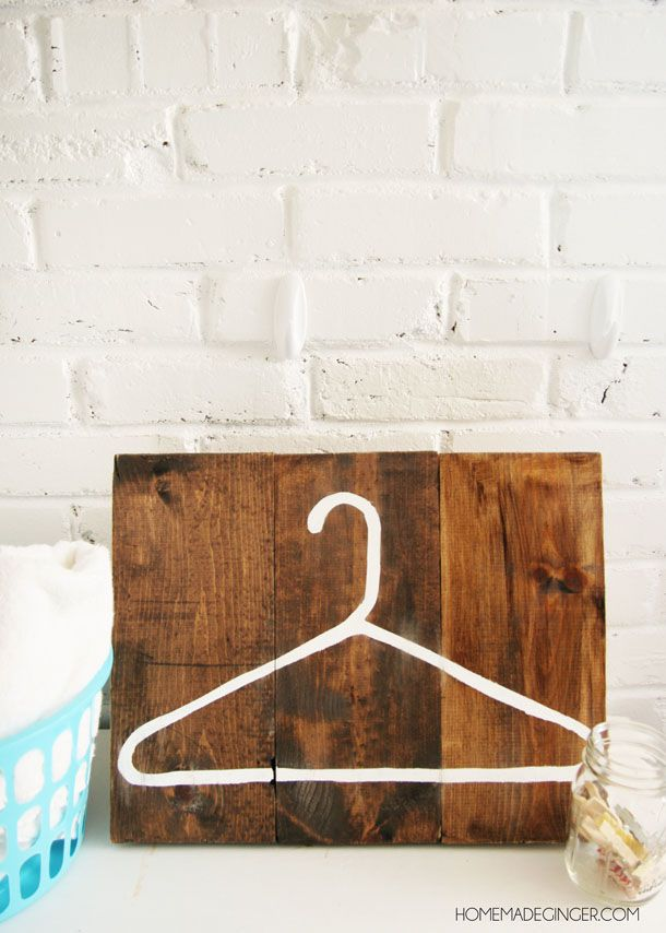 DIY Hanger Laundry Room Art