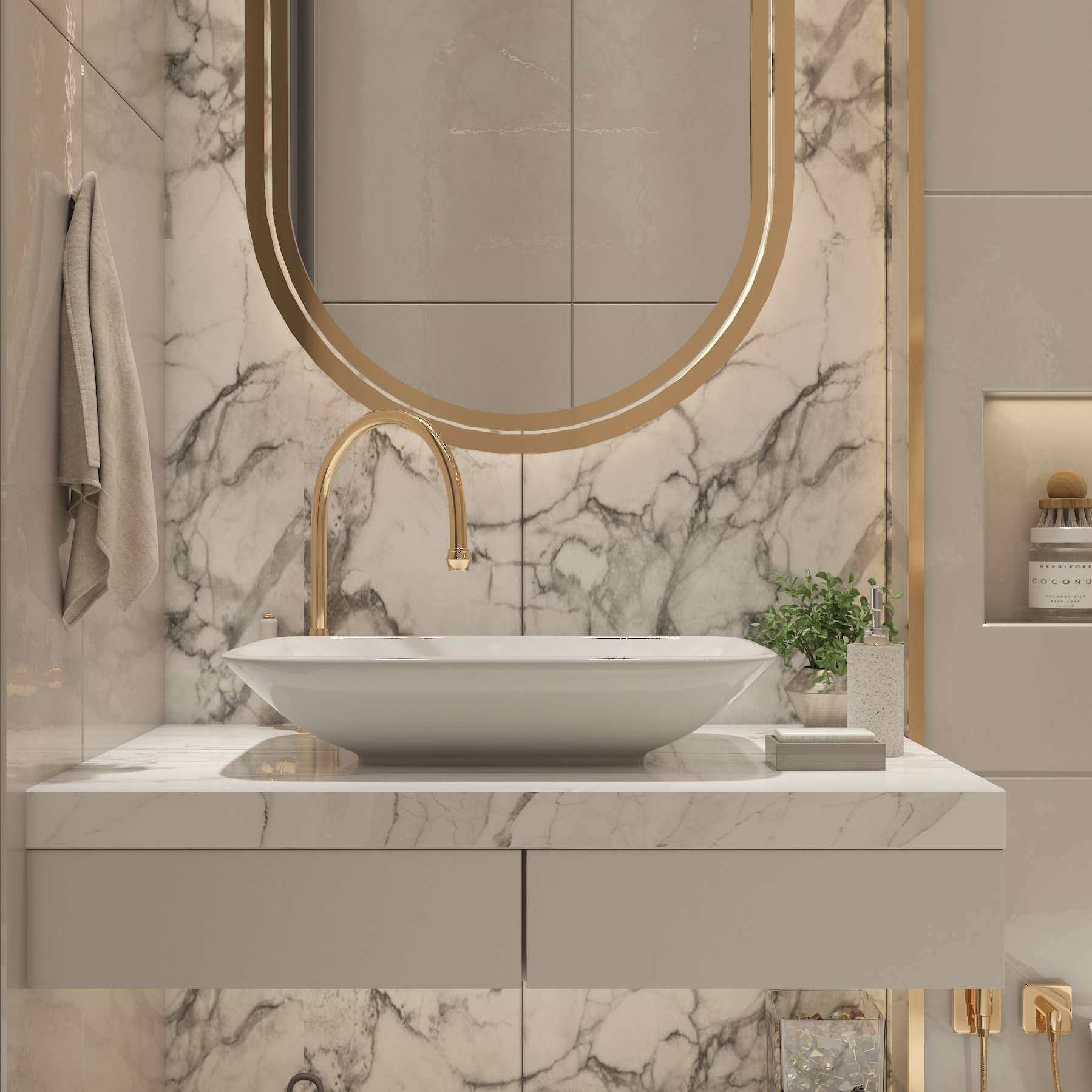 modern bathroom with gold and white accents