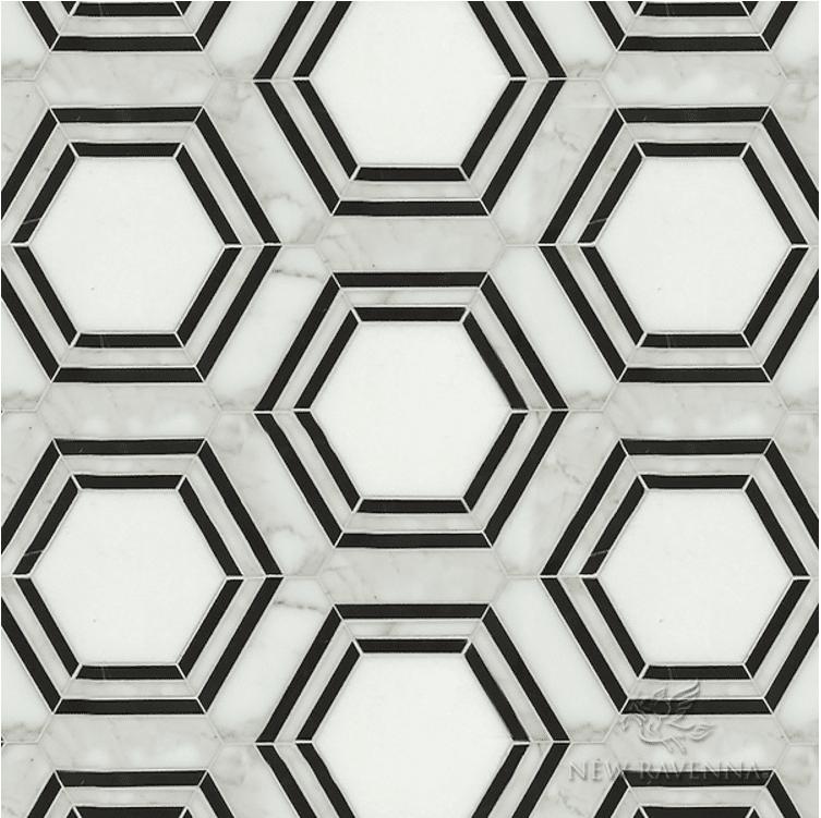 black and white hex tile
