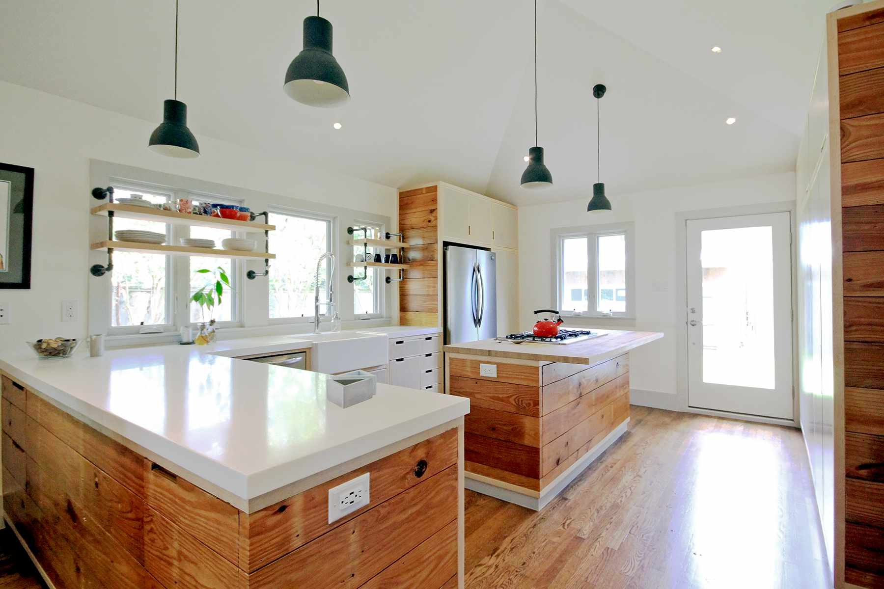 Thick solid surface countertop in rustic kitchen