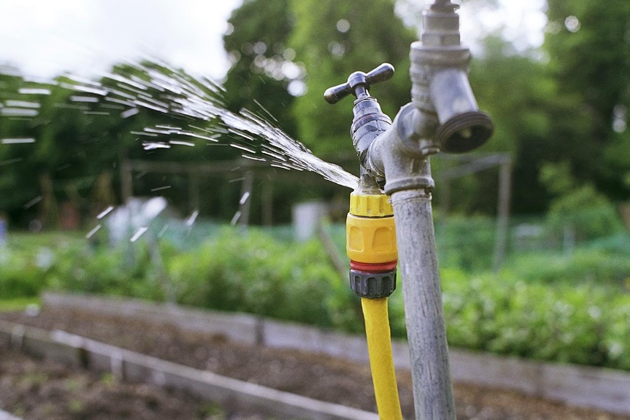 Garden spigot leaking water