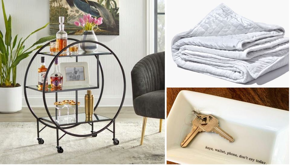bar cart, weight blanket, key tray for zodiac signs