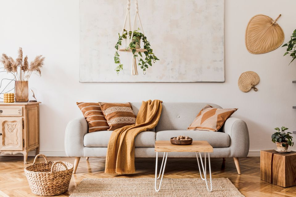 neutral decor with warm color accents