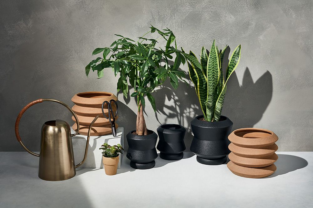 An array of planters and accessories.