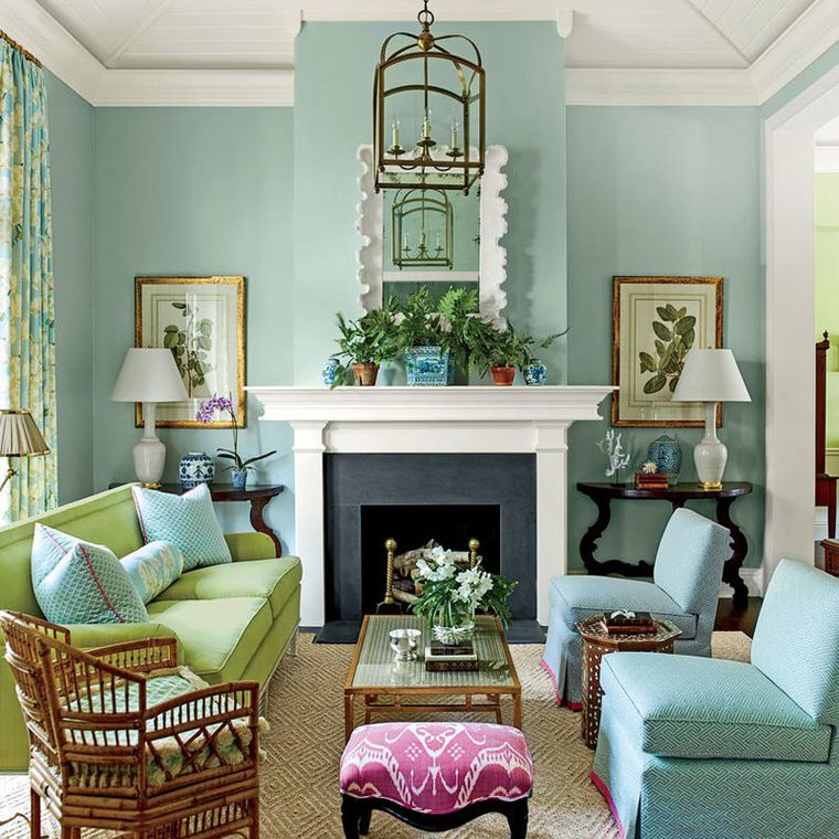turquoise painted living room