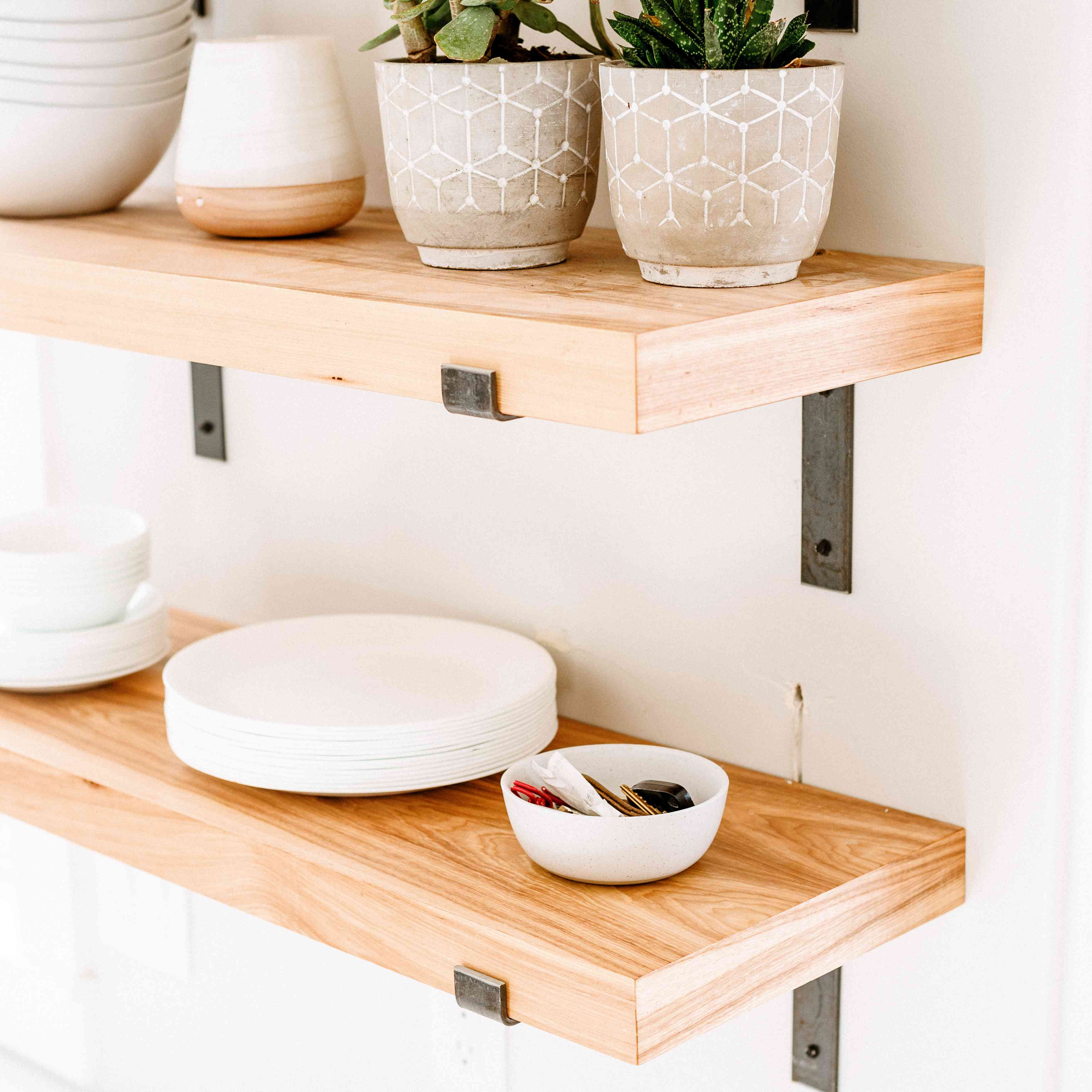 Shelving can free up counter space