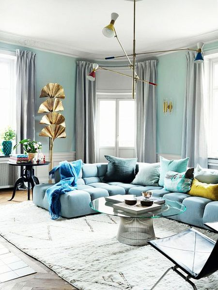 Cool Color Blocking Light Blue Living Room Glamour