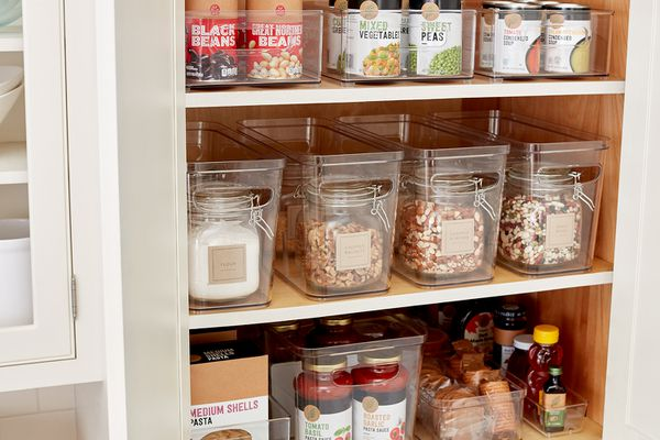 organized pantry using storage bins