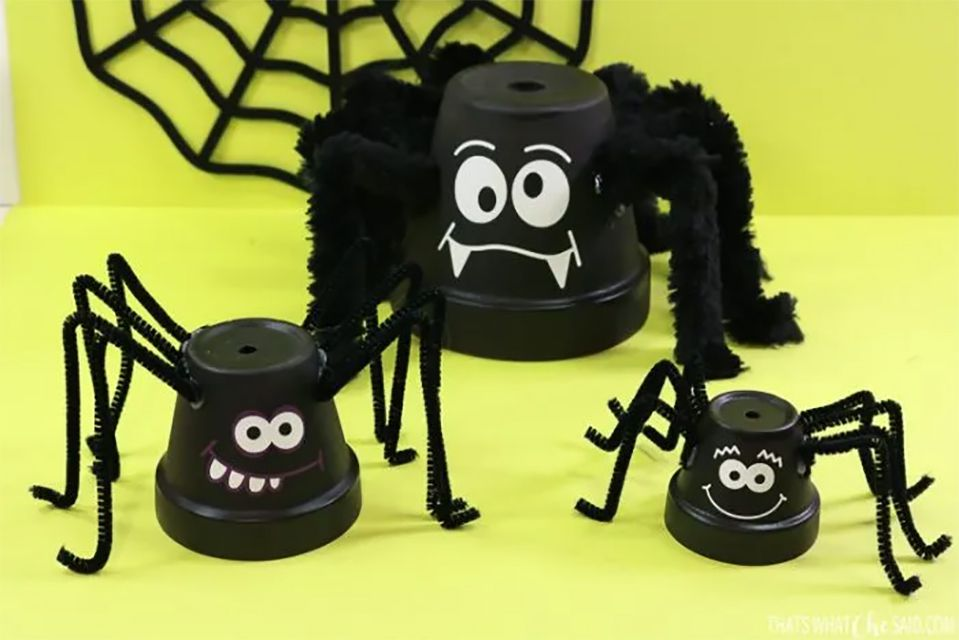 Spiders made from clay pots