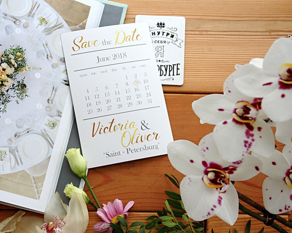 Save-the-date example with flowers.