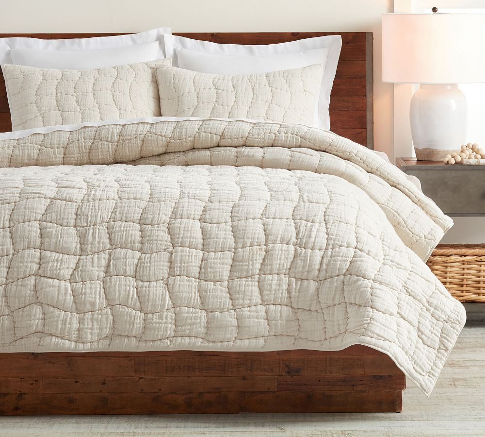 Pottery Barn Cloud Linen Handcrafted Quilt