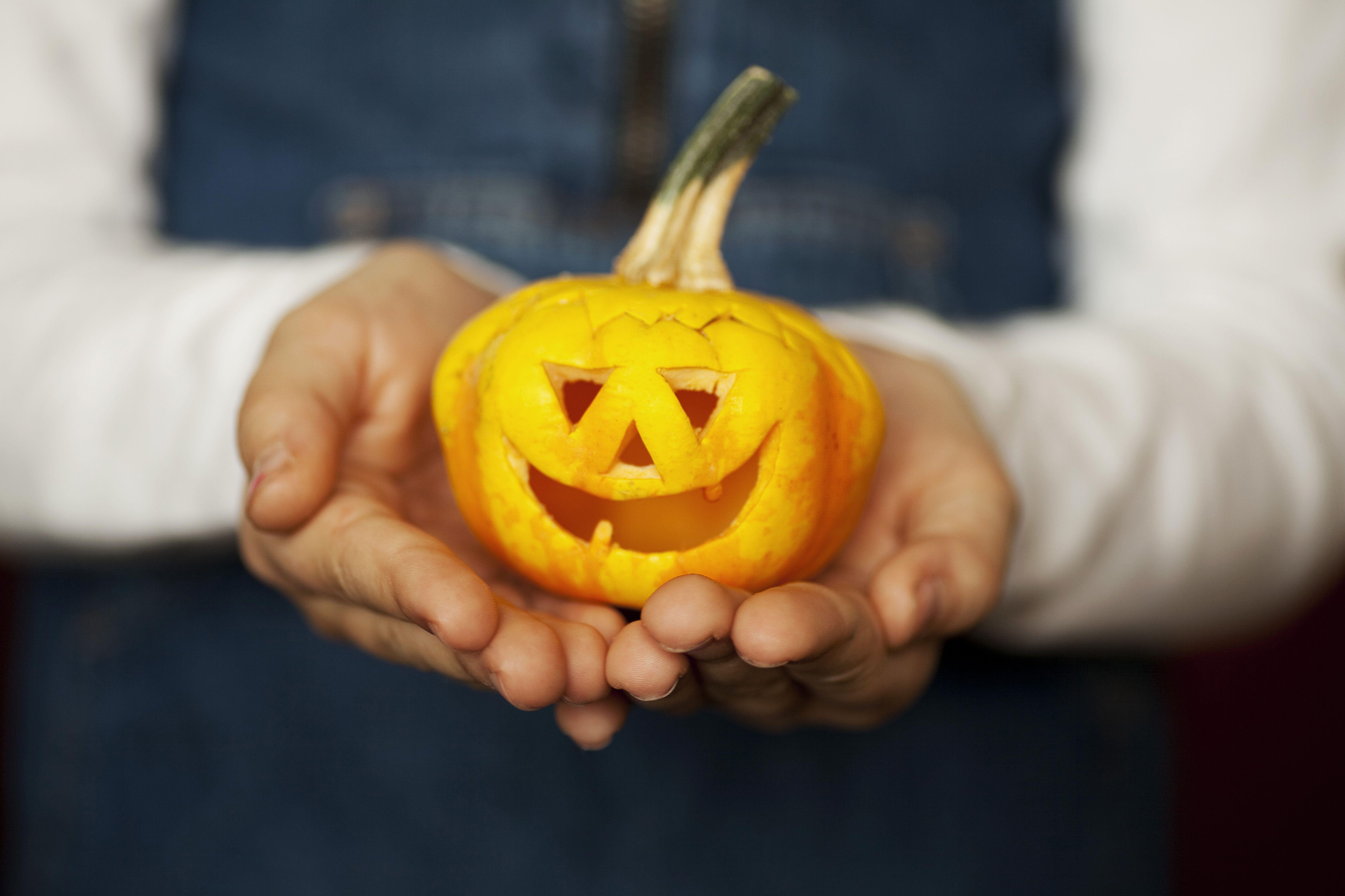 Hands holding a carved pumpkin