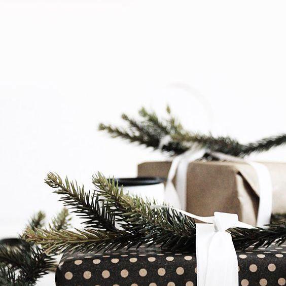 Papel de regalo de lunares con ramitas de pino