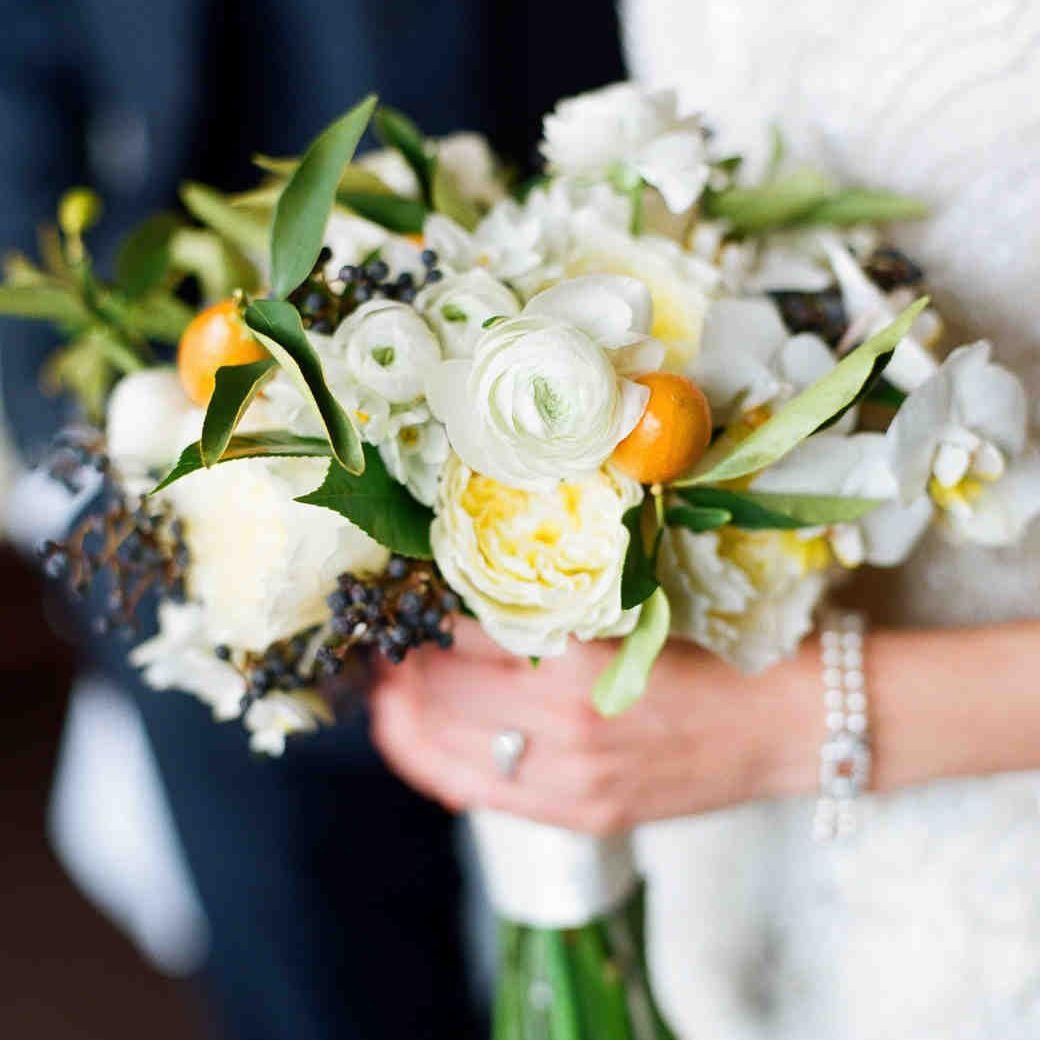 Kumquat and Greenery Winter Wedding Bouquet