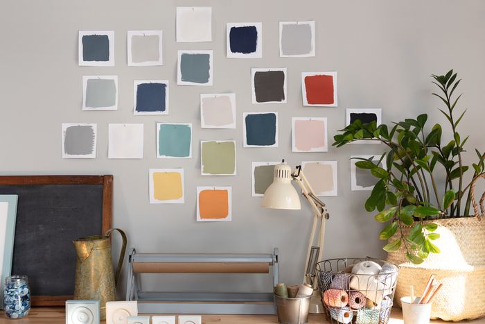 Paint swatches from The Spruce Best Home paint line in a craftroom