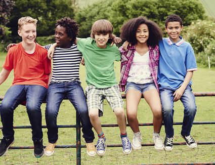 kids sitting on a fence
