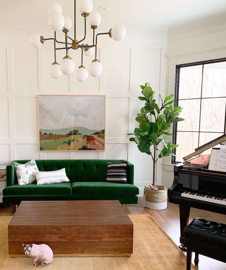 Living room with green velvet couch