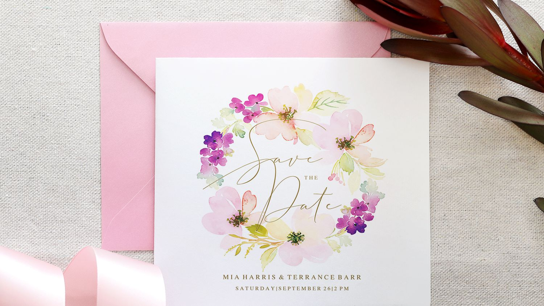 Minimal Foliage Wedding Invitation Template Download Wedding Suite Wreath Digital Download Custom Save the Date Simple Watercolour
