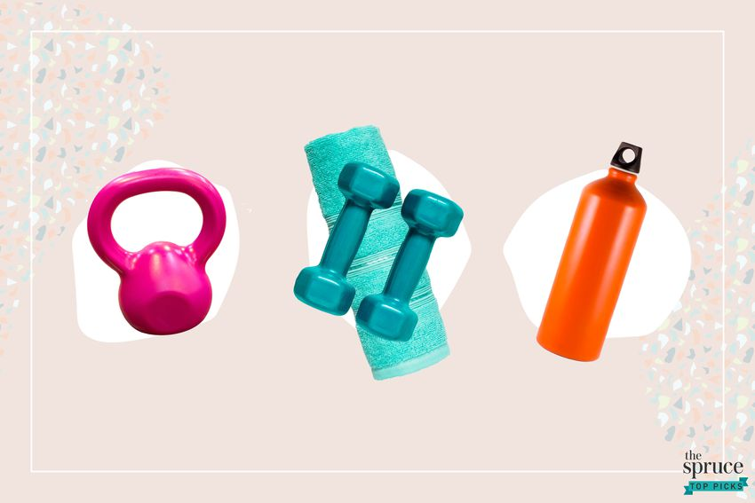 Photo composite of a pink kettlebell, a teal towel and dumbbells and an orange water bottle over a white circle on top of a light pink background.