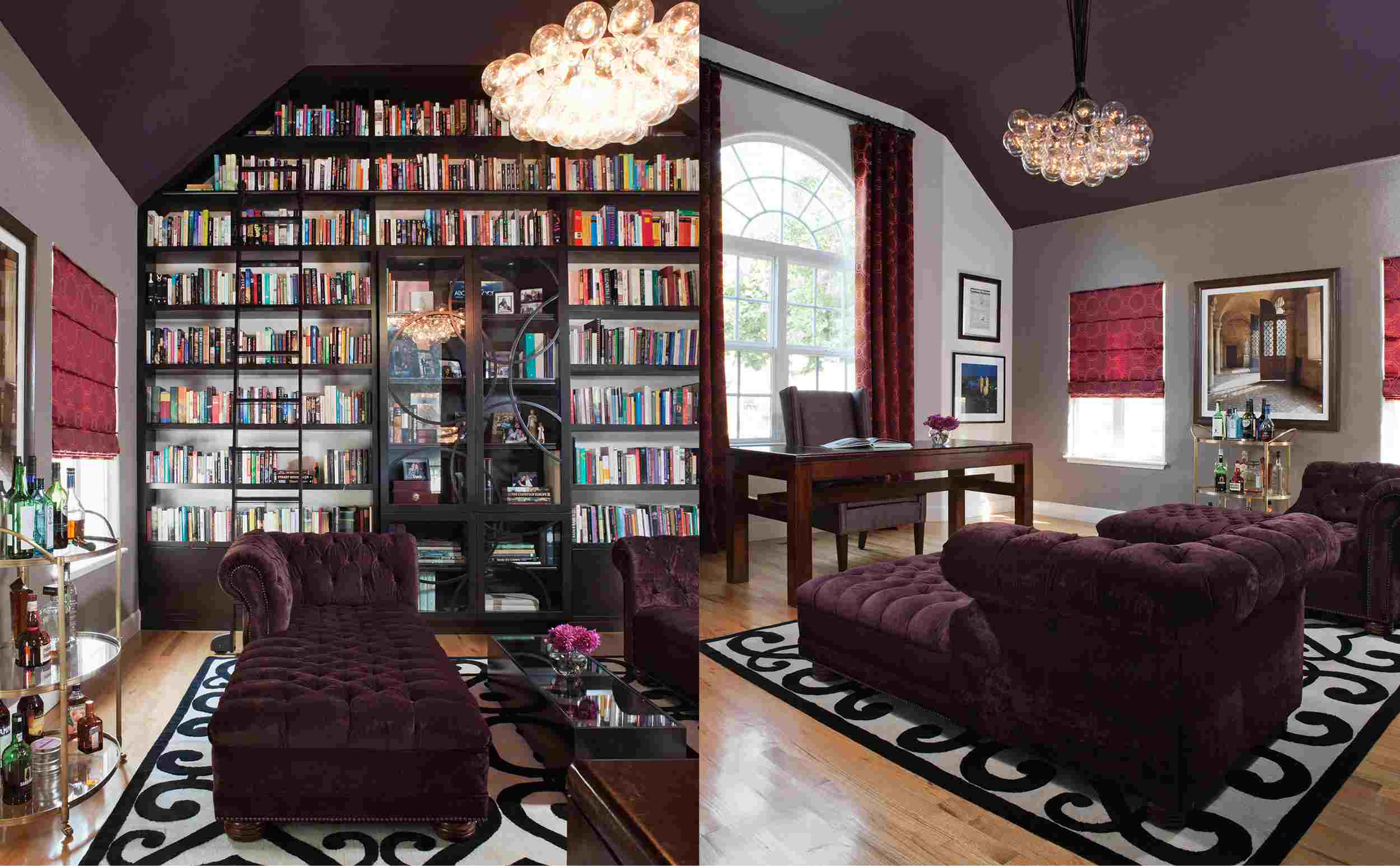 Dark purple living room ceiling with gray walls